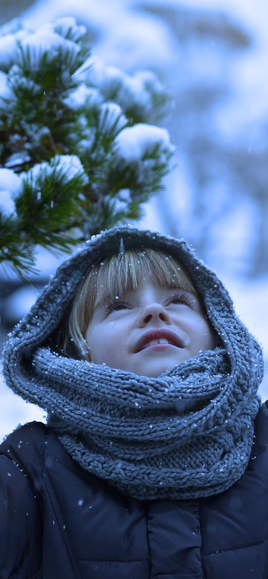 下雪 雪花 小男孩 欧美 冬天