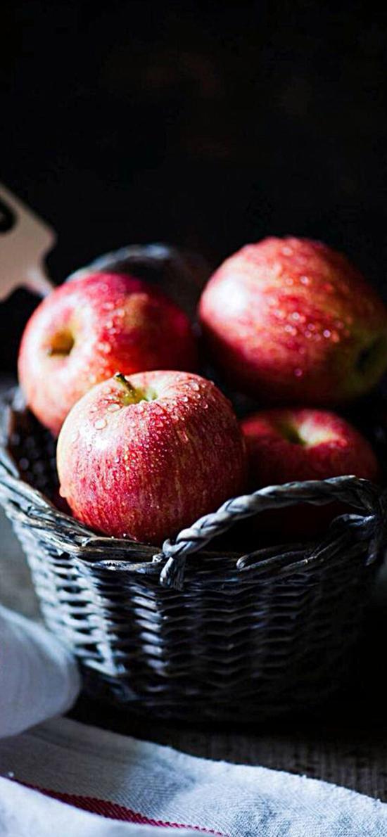 苹果 编织篮 水果 新鲜 水珠