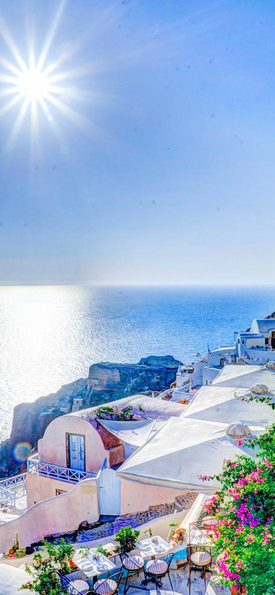 海天一线 太阳 海岸 爱琴海