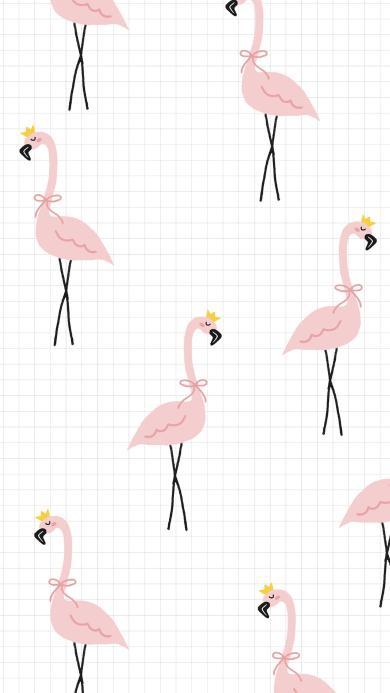 格子背景 粉色火烈鸟 平铺 卡通