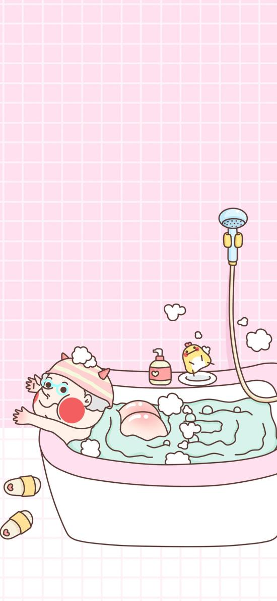 粉色格子 趣味卡通 洗澡 红屁屁