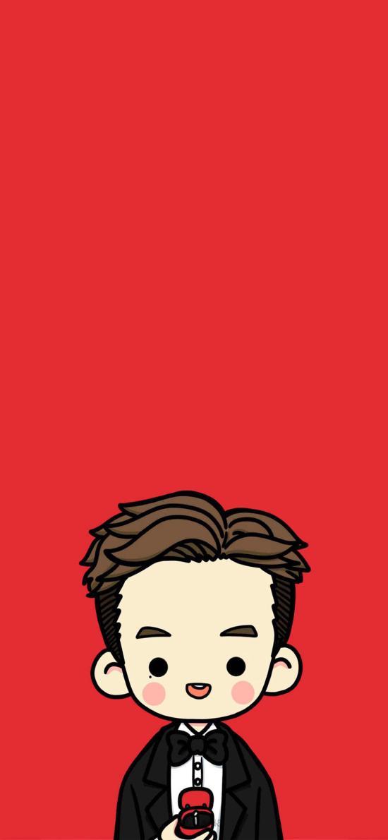 卡通 新郎 红色