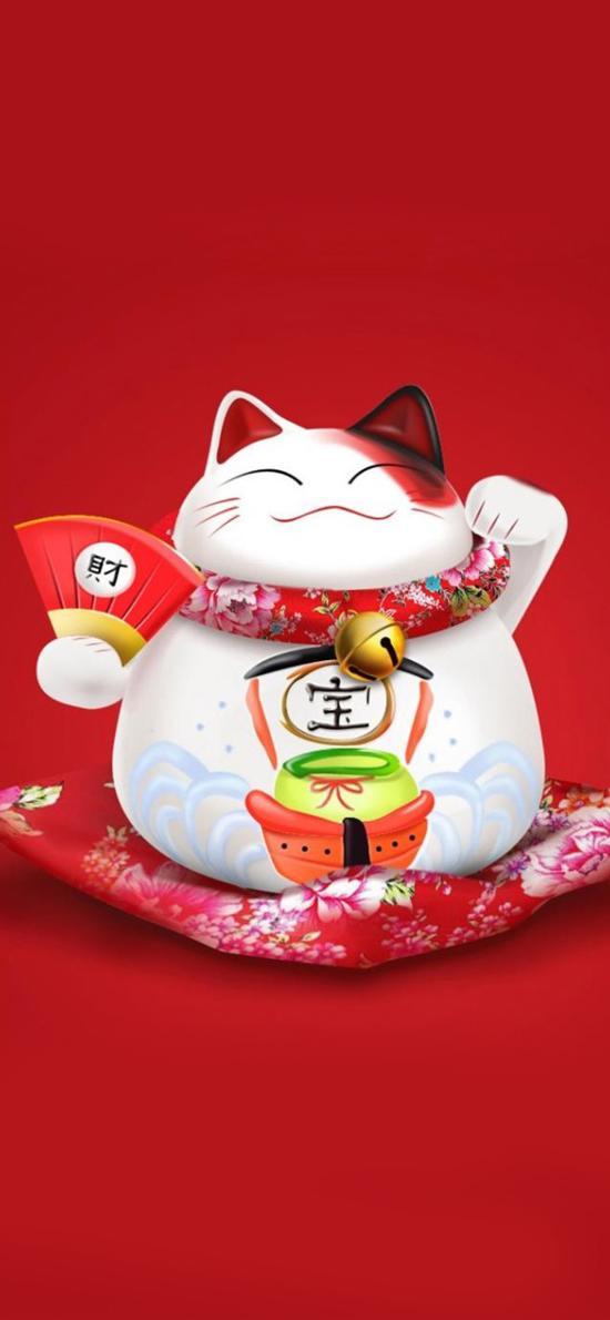 卡通 招财猫 可爱 萌 红色 漫画