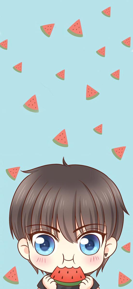 卡通 可爱 情侣头像 西瓜