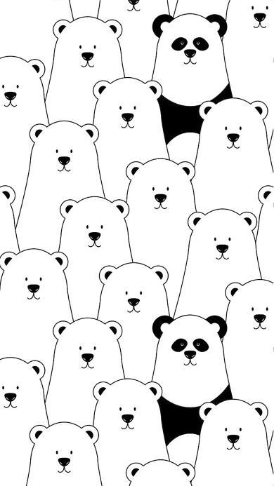 创意 简约 黑白 熊 熊猫