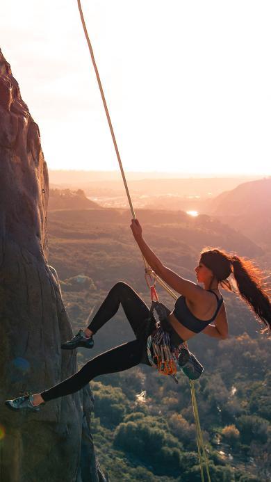 极限运动 攀岩 美女 绳索