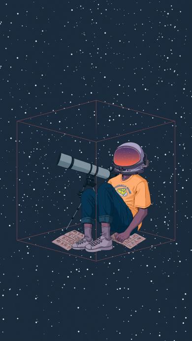 观察 太空 星空 宇宙 男孩 天文