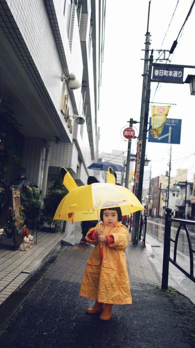小蛮 小网红 街道 雨季 伞 可爱 小女孩