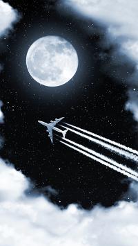 飞机 月球 月亮 天空 航空 飞行 夜空 云 插画