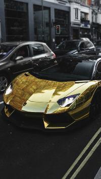 兰博基尼 超级跑车 金色 炫酷 街道