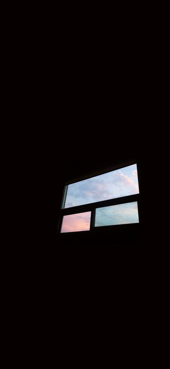 窗外 黑暗 天空 窗户