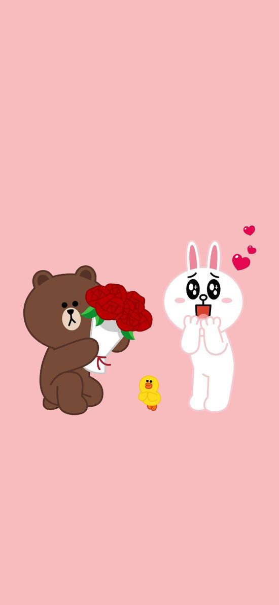 linefriends 粉色 可妮兔 布朗熊 萨莉鸡 玫瑰 爱情