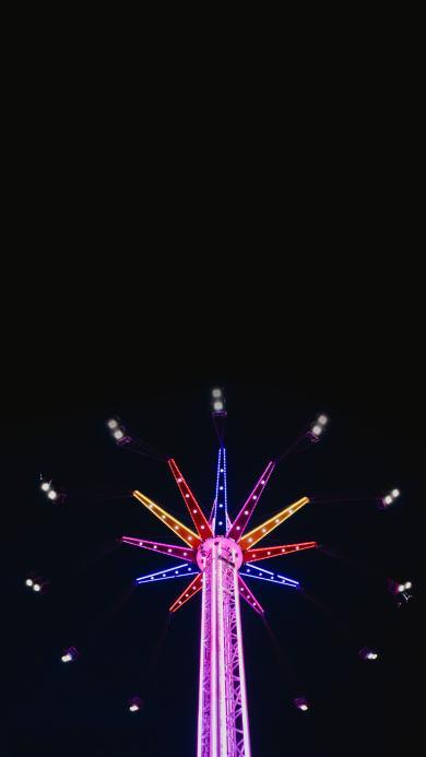 夜空 游乐园 娱乐设施 飞椅 灯光