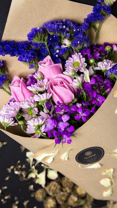 花束 鲜花 玫瑰 薰衣草 包扎