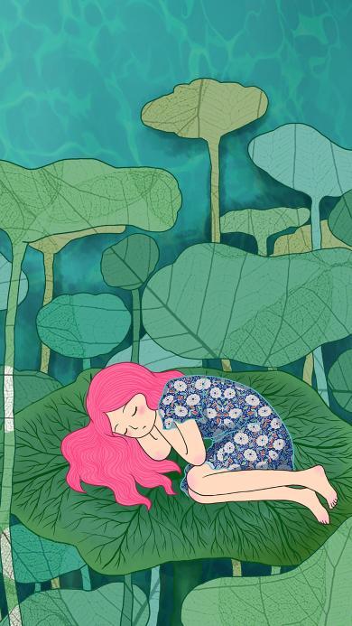 荷叶 女孩 姑娘 绿色 睡梦 童话