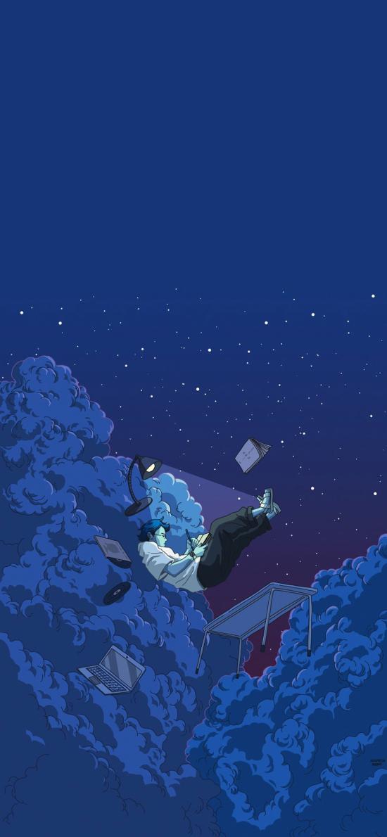 云端 插画 男孩 书写 台灯 办公 蓝色 天空