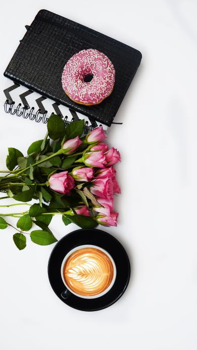 咖啡 玫瑰 甜甜圈 静物