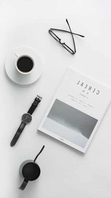 简约 眼镜 手表 咖啡
