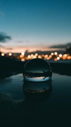 水珠 夜景倒影 灯光