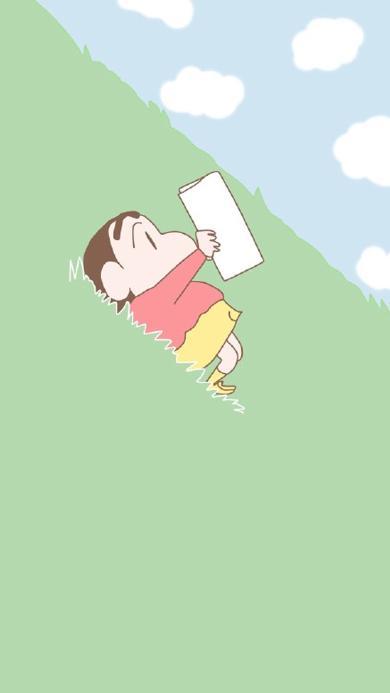 蜡笔小新 动画 草坪 斜坡 阅读
