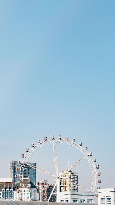 摩天轮 小清新 城市 蓝色 天空