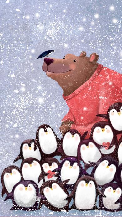 企鹅 棕熊 雪 鸟 动物 可爱 插画