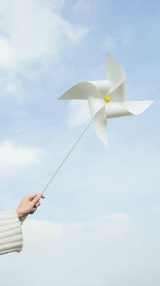 风车 手 举起 小清新 蓝白