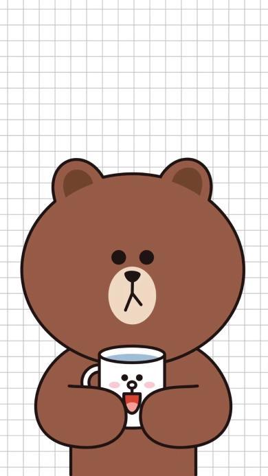 布朗熊 卡通 可爱 line friends