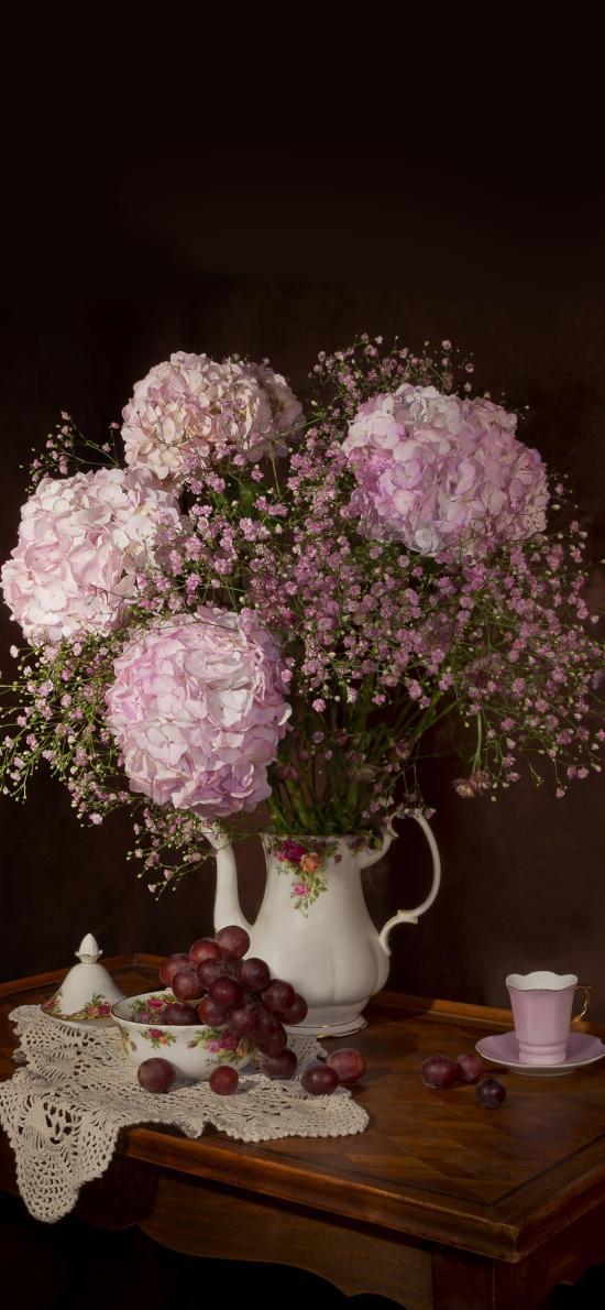 鲜花 绣球花 葡萄 茶具