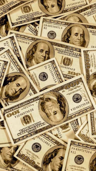 钞票 美金 100刀 平铺