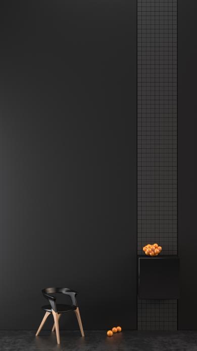 家居装饰 黑色简约 椅子 橙子