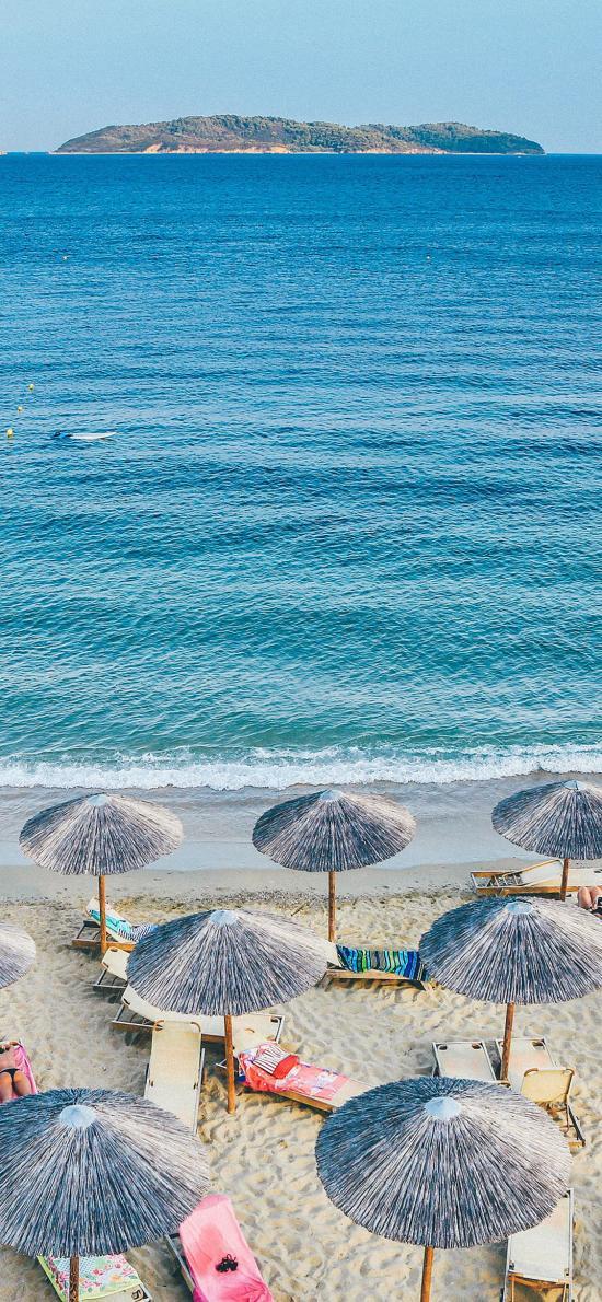 沙滩 海岸 沙滩伞 度假