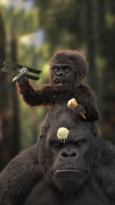 黑猩猩 小猩猩 飞机 冰淇淋
