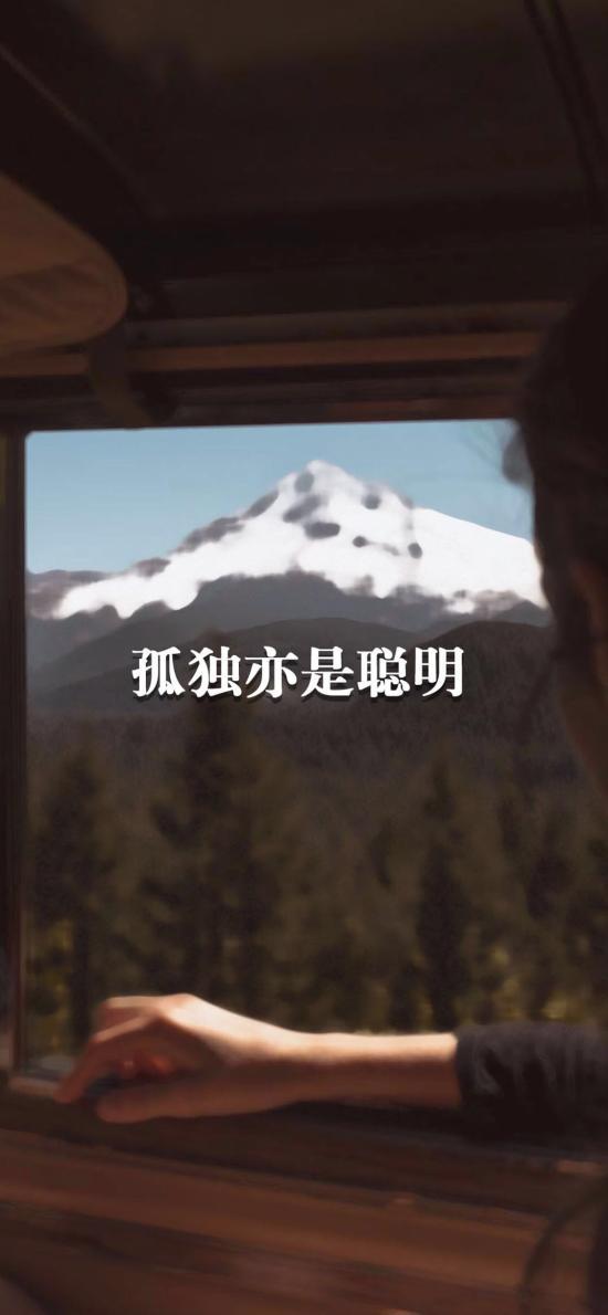 孤独亦是聪明 窗外 雪山