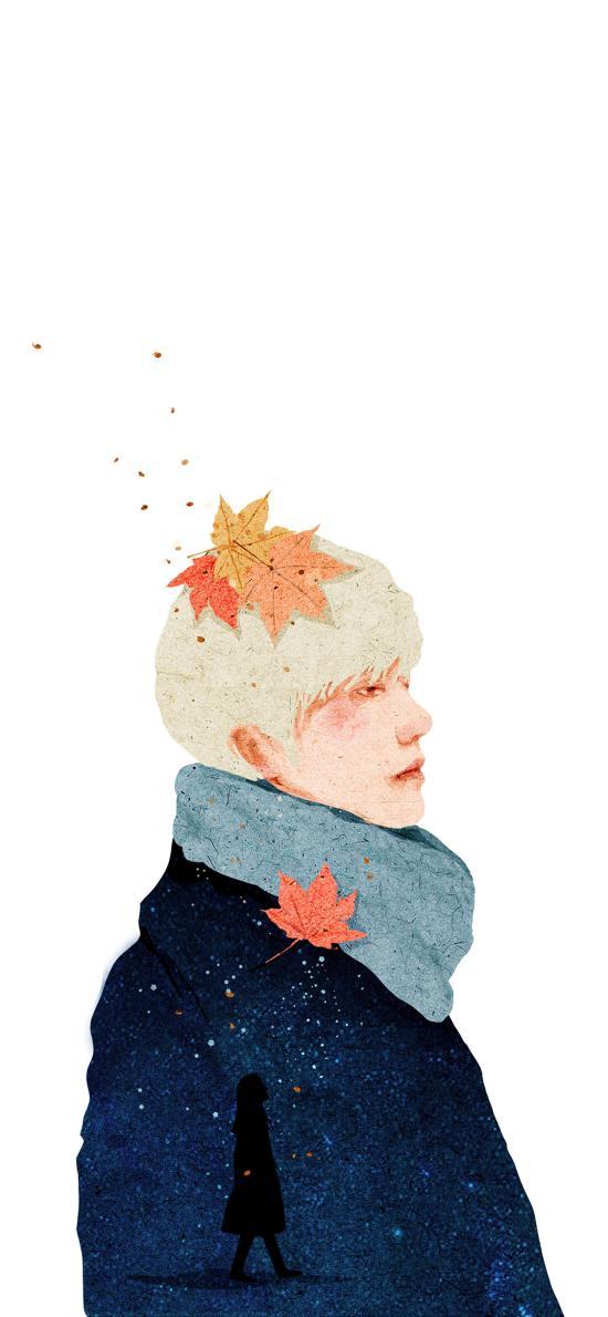 男孩 插画 枫叶 侧脸