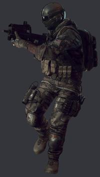 军人写真 头盔 冲锋枪 战备