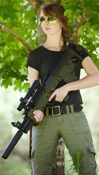 欧美美女 枪械手 冲锋枪