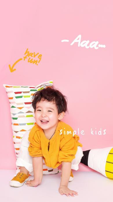 粉色背景 萌娃写真 小男孩 simple kids