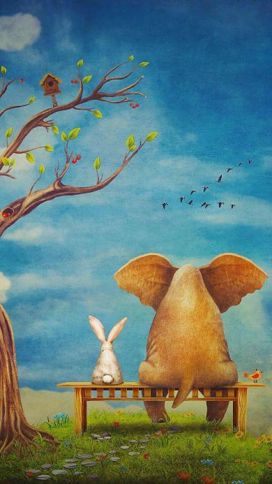 插画 大象背影 小兔子 树木 飞鸟