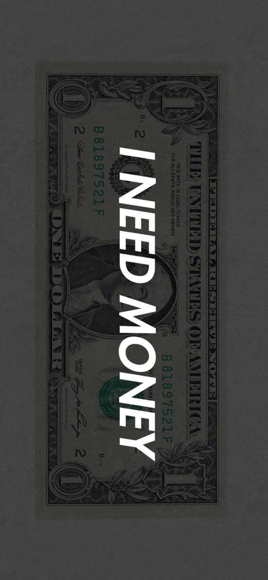 我需要钱 i need money 美元 钞票 文字