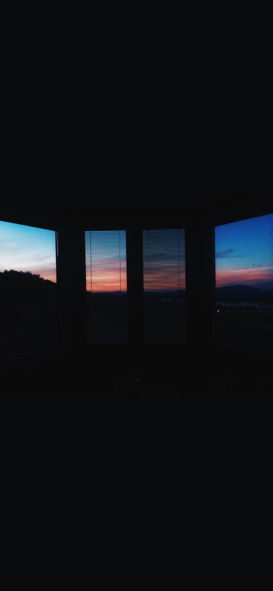 窗外 黑暗 窗户 天空 云彩