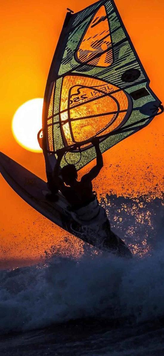 体育 帆船 海面 海浪 夕阳