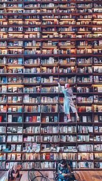 书墙 书籍 阅读 密集