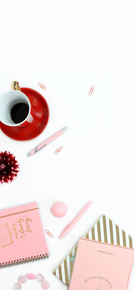 色系 笔记本 咖啡杯 文具 粉