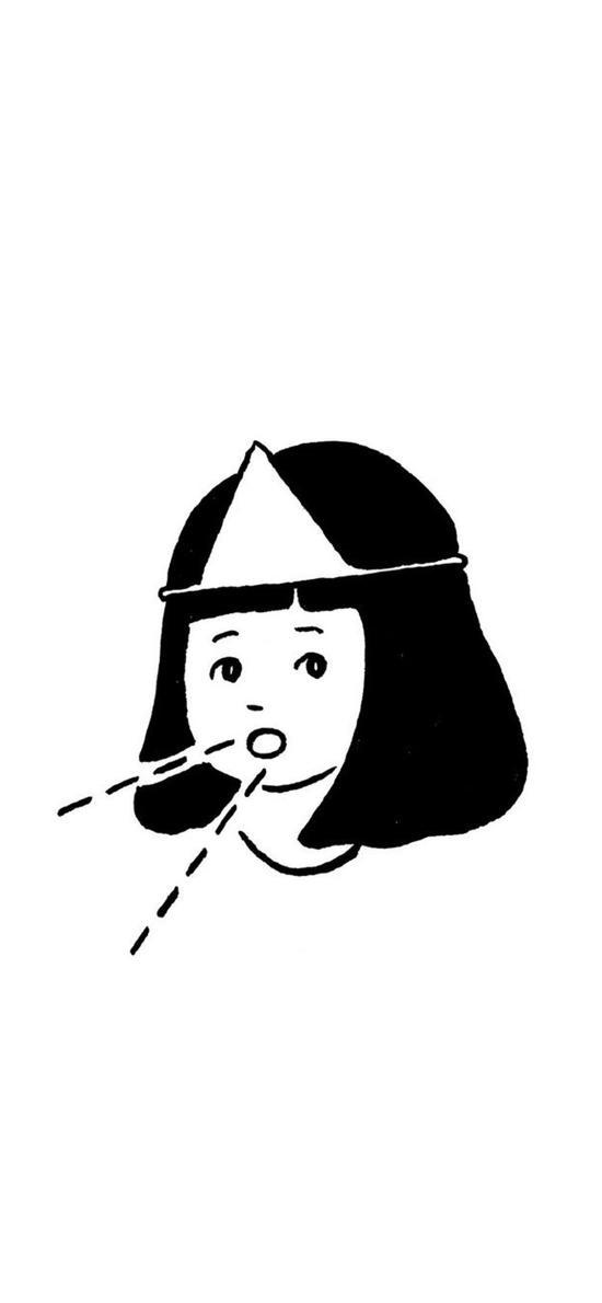 短发 女孩 插画 黑白