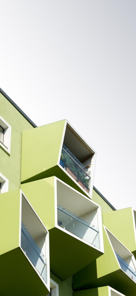 天空 绿色房屋 立体