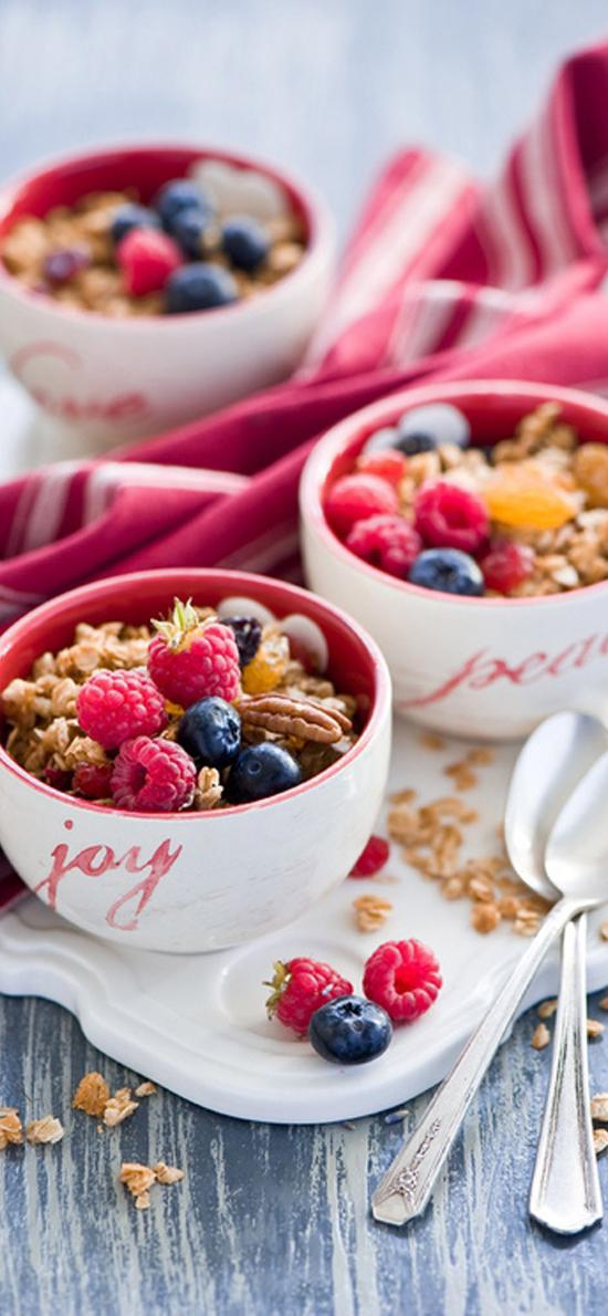 蔓越莓 藍莓 燕麥 餐具