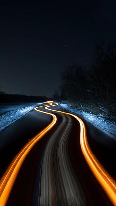 夜晚 道路 白雪覆盖 光速