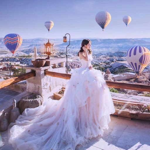 婚纱 热气球 意境 唯美