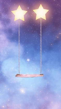 秋千 星星 迷幻 创意